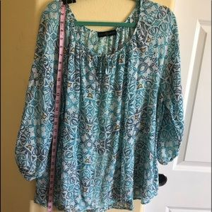 Fred David 2X Peasant Top Tie Neck Tunic Length